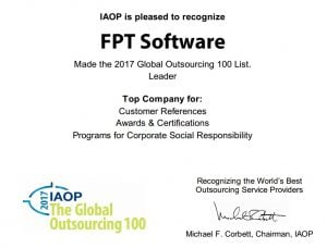FPT Software awarded 3 stars on IAOP Global Outsourcing 100 List